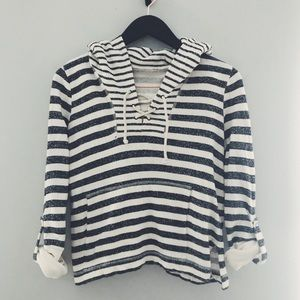 Free People Striped lace-up Beach Hoodie Size S